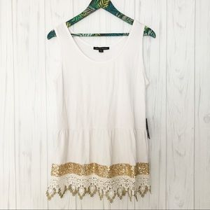 NWT Boston Proper Gold Sequin Tank Top Size Large